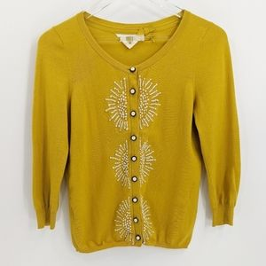 Anthro HWR Yellow French Knot Embroidered Cardigan